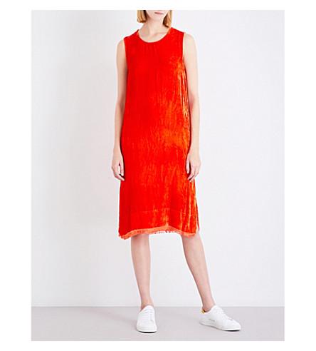 RAQUEL ALLEGRA Frayed sleeveless velour dress (Persimmon