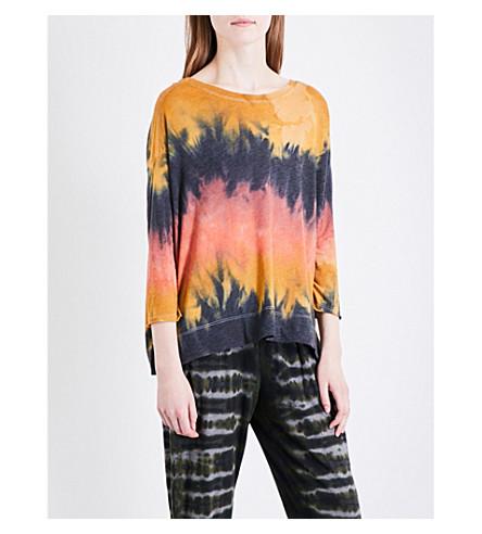 RAQUEL ALLEGRA Tie-dye jersey T-shirt (Lava+tie+dye