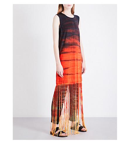 RAQUEL ALLEGRA Fringed tie-dye jersey dress (Lava+tie+dye