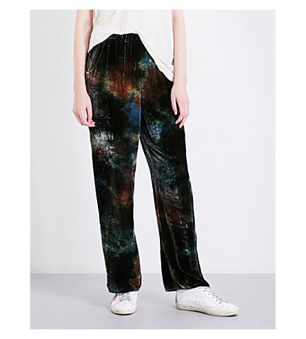 RAQUEL ALLEGRA Tie-dye wide-leg velvet trousers (Forest+tie+dye