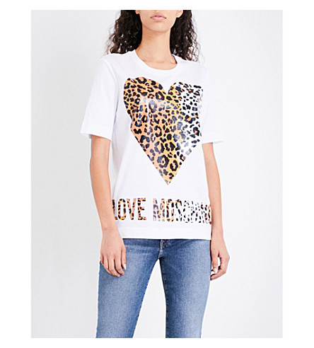 LOVE MOSCHINO Heart Leopard-print cotton-jersey T-shirt (Optical+white