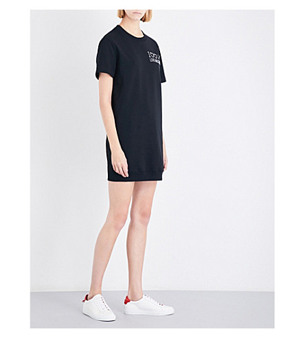 LOVE MOSCHINO Logo-embellished stretch-jersey dress (Black