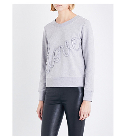 LOVE MOSCHINO Love sequin-embellished stretch-jersey sweatshirt (Light+gray