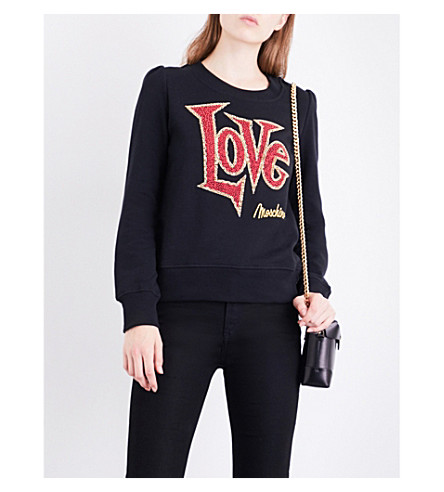 LOVE MOSCHINO Logo embellished cotton-jersey sweatshirt (Black