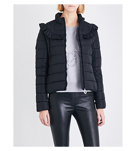 LOVE MOSCHINO Ruffle-trim shell puffer jacket (Black