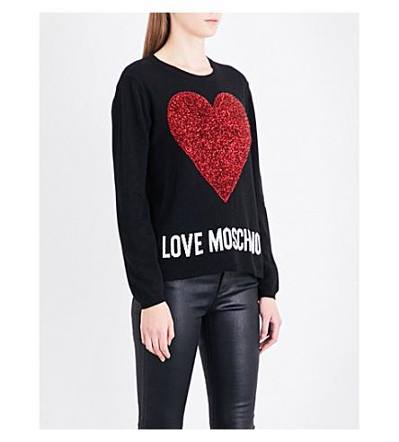 LOVE MOSCHINO Metallic heart-intarsia knitted jumper (Black