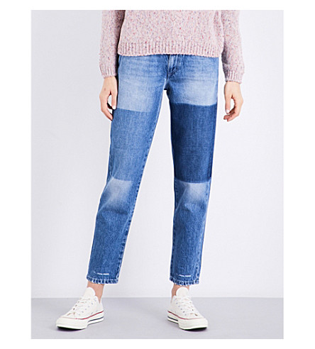 CLOSED Pedal Pusher patchwork classic-fit high-rise jeans (Natural+worn