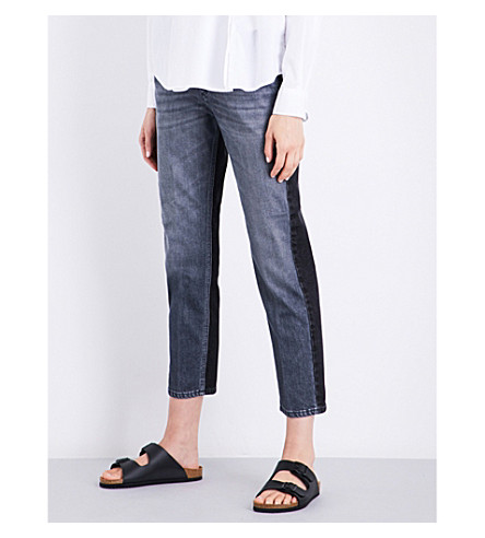 CLOSED Heartbreaker two-tone girlfriend-fit mid-rise jeans (Patch+work