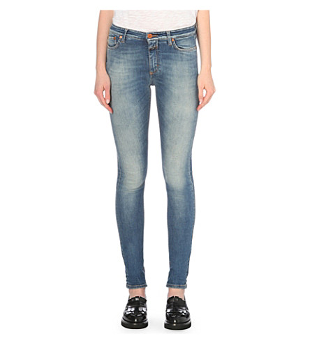 CLOSED Lizzy skinny mid-rise jeans (Mid+blue+worn