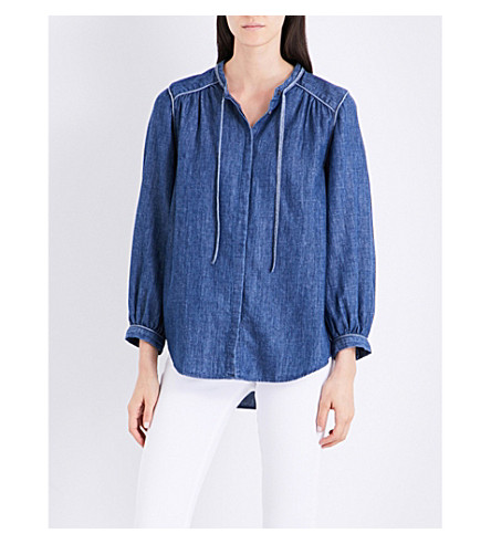 CLOSED Tie-neck loose-fit chambray shirt (Washed+out
