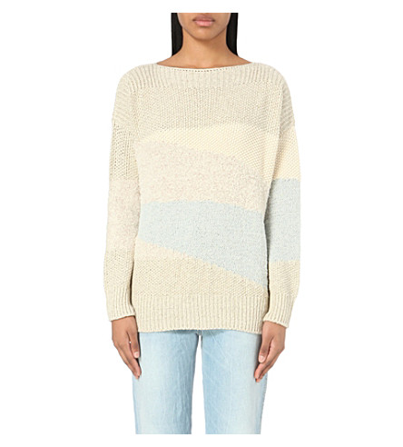 CLOSED Striped knitted jumper (Blanched+almond