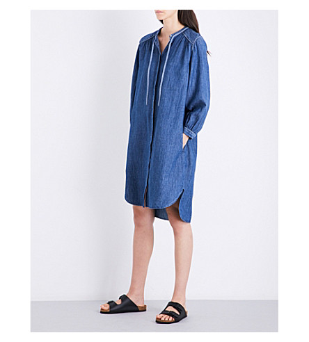 CLOSED Tie-neck chambray shirt dress (Washed+out