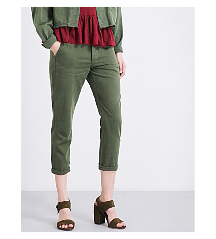 THE GREAT Miner cropped cotton trousers (Over+dye+army