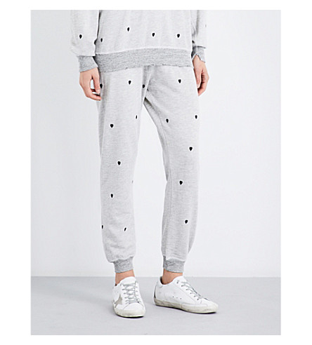 THE GREAT Cropped Heart tapered mid-rise cotton-blend jogging bottoms (Heather+grey