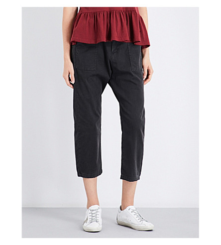 THE GREAT Convertible tapered cropped high-rise stretch-cotton trousers (Black