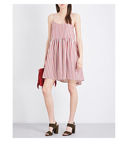 THE GREAT Terrace striped cotton dress (Red/+white+stripe