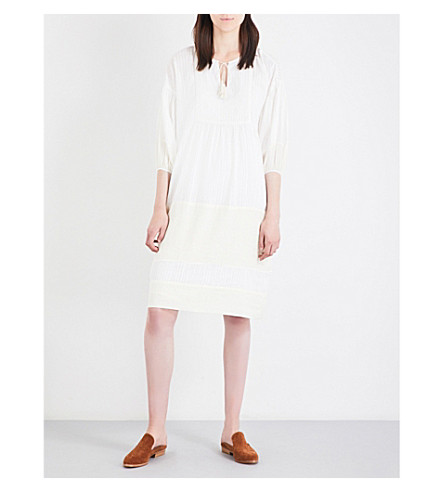THE GREAT Tassel-neckline cotton tunic dress (Off+white