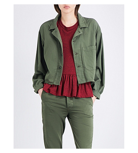 THE GREAT Cropped cotton army jacket (Over+dye+army