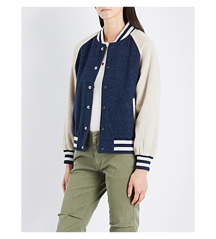 THE GREAT Letterman wool-blend bomber jacket (Navy+cream