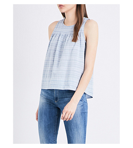 THE GREAT Pleated cotton smock top (Chambray+dobby