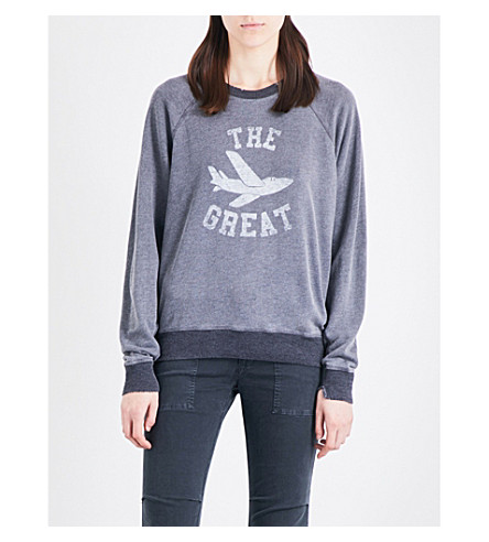 THE GREAT Logo-print cotton-blend sweatshirt (Charcoal+heather