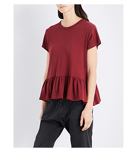 THE GREAT Ruffled-hem cotton T-shirt (Garnet