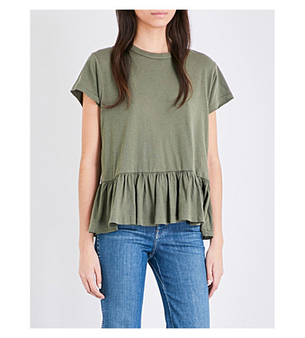 THE GREAT The Ruffle cotton-jersey t-shirt (Camo+green