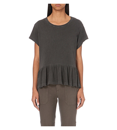 THE GREAT Frilled-hem cotton-jersey t-shirt (Washed+black