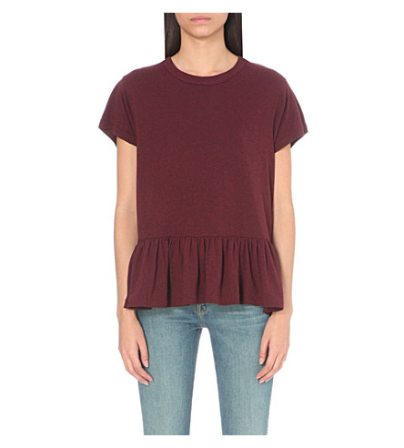 THE GREAT The Ruffle jersey t-shirt (Dark+wine