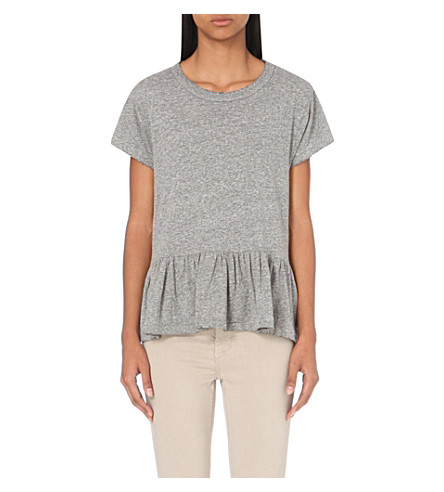 THE GREAT The Ruffle jersey t-shirt (Heather+grey