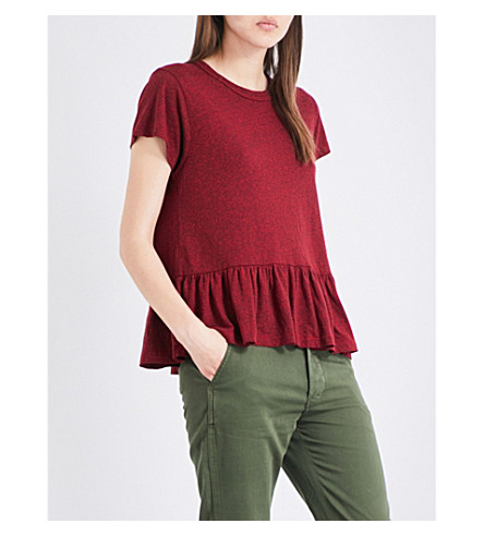 THE GREAT The Ruffle jersey T-shirt (Red heather