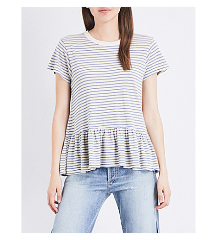 THE GREAT The Ruffle striped jersey T-shirt (Blue+stripe
