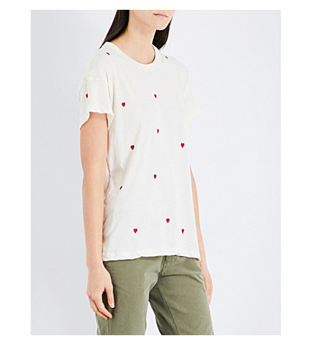 THE GREAT Heart-print cotton T-shirt (White++red+emb
