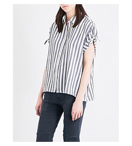 THE GREAT Striped cotton shirt (Black/white