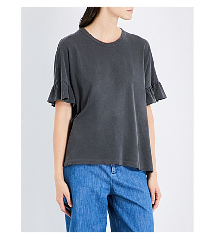 THE GREAT Ruffle-sleeved cotton T-shirt (Washed+black