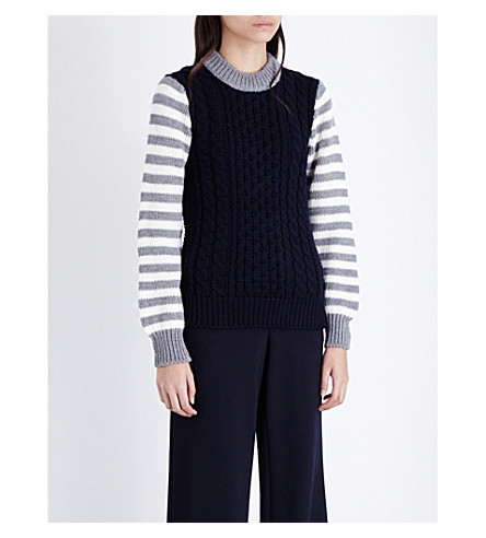 &DAUGHTER Striped-sleeves knitted jumper (Navy+body/grey+slv