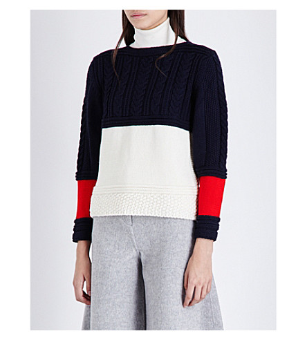&DAUGHTER Contrast-panels wool jumper (Navy/ecru/red