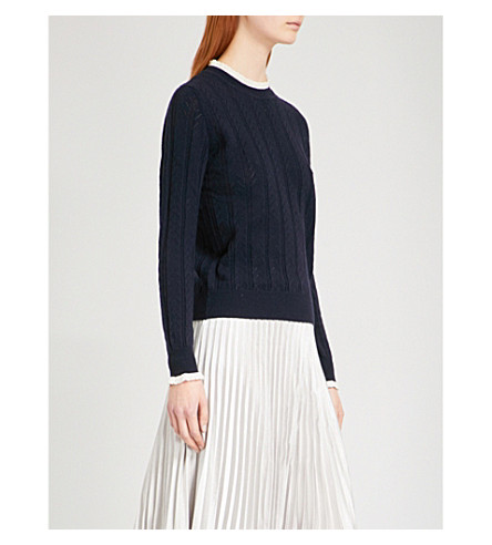 &DAUGHTER Ennis pointelle-knit wool and cashmere-blend jumper (Navy