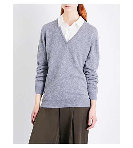 &DAUGHTER Bray V-neck cashmere jumper (Flannel+grey