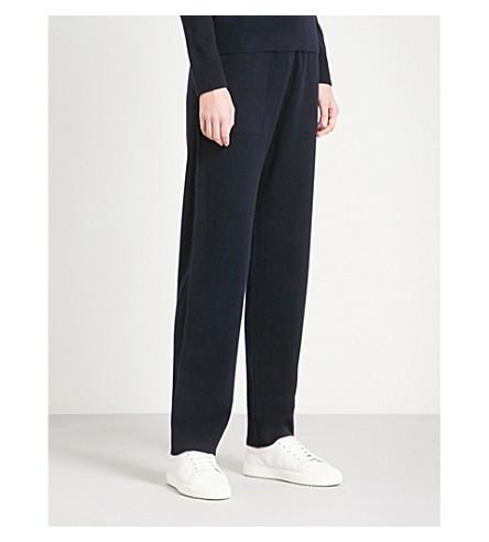 VINCE Straight high-rise wool-blend jogging bottoms (Coastal+blue