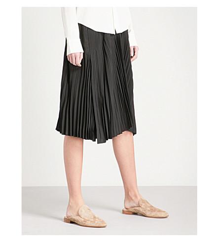 VINCE Pleated high-rise silk-blend skirt (001blk