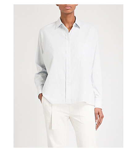 VINCE Pocket-detailed cotton and silk-blend shirt (457icb