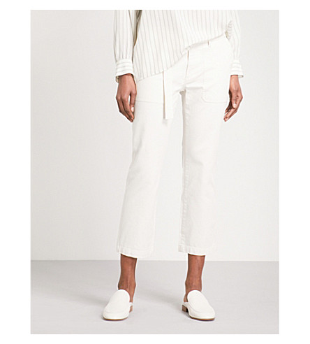 VINCE Straight cropped high-rise stretch-cotton trousers (101owh