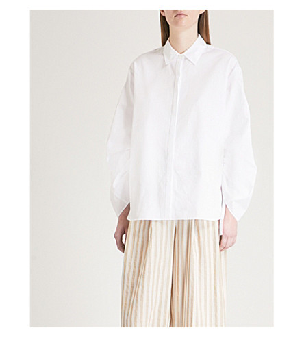 VINCE Ruched-sleeve cotton shirt (White