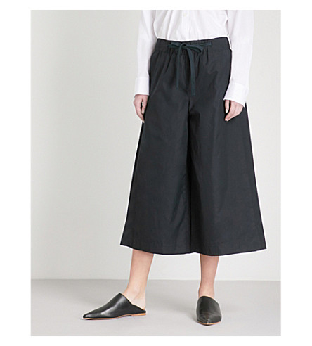 VINCE Side slit wide-leg cotton culottes (Black