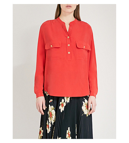 VINCE Utility silk blouse (Red