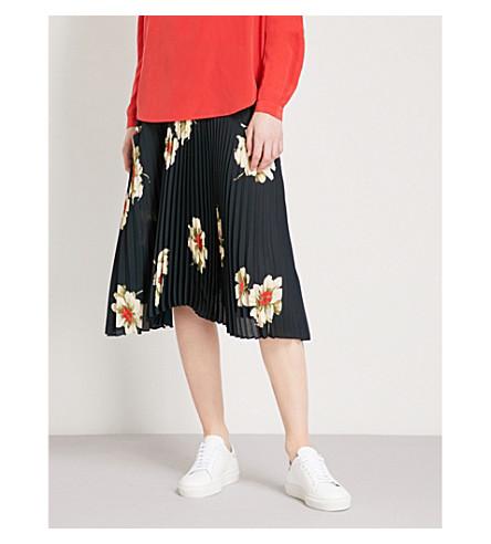 VINCE Gardenia floral-print pleated crepe skirt (Black