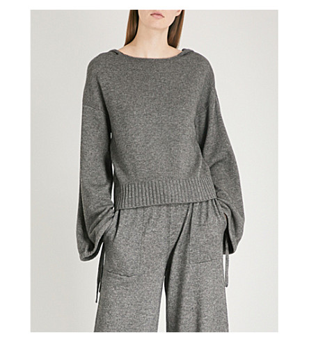VINCE Scrunch-sleeve wool and cashmere-blend hoody (Grey