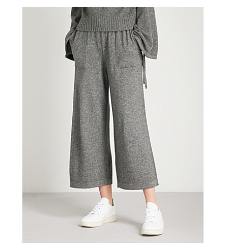 VINCE Wide-leg cropped wool and cashmere-blend trousers (Grey