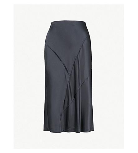 VINCE Raw-edge silk-satin midi skirt (Iron